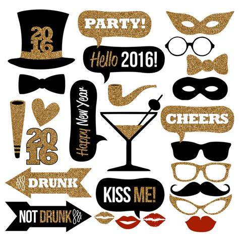new year photo booth props printable new years new year s