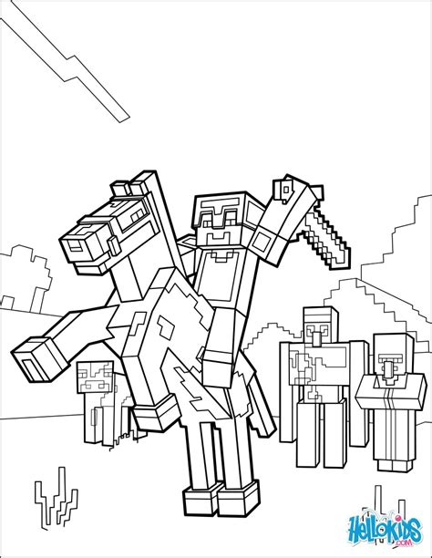 minecraft horse coloring page minecraft coloring page ride a horse to the horizon