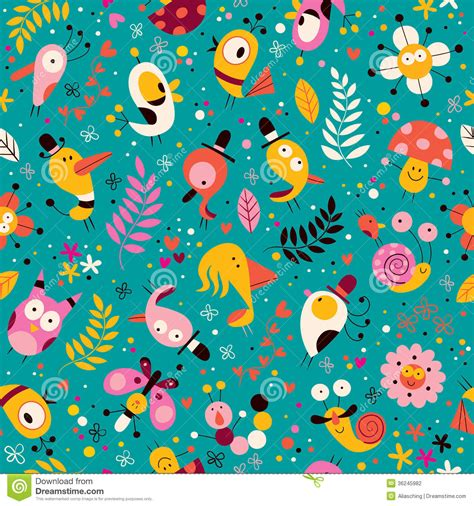 pattern design nature cute characters nature pattern stock vector illustration