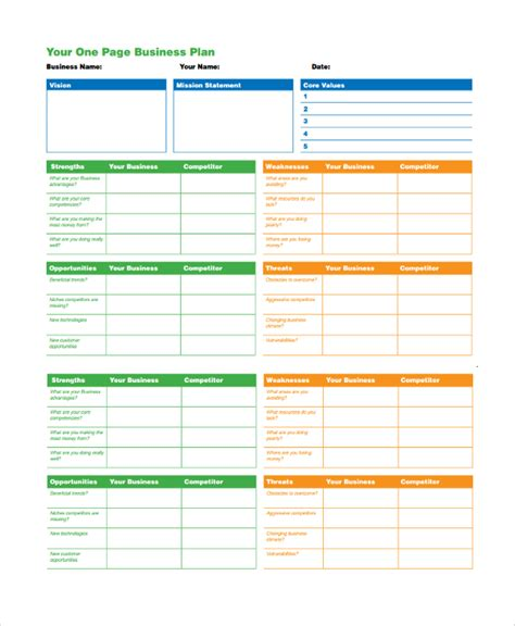29 Sle Business Plan Templates Sle Templates One Page Business Plan Template Free
