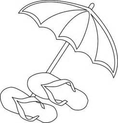 Beach Umbrella Coloring Page A And Slippers sketch template