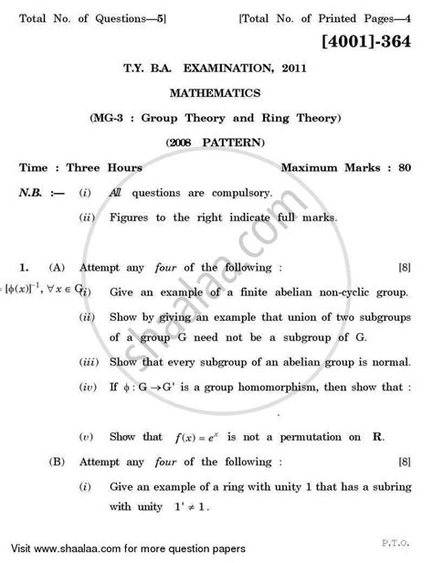 Mathematics Gp Essay by Question Paper Mathematics General Paper 3 Theory And Ring Theory 2011 2012 Ba