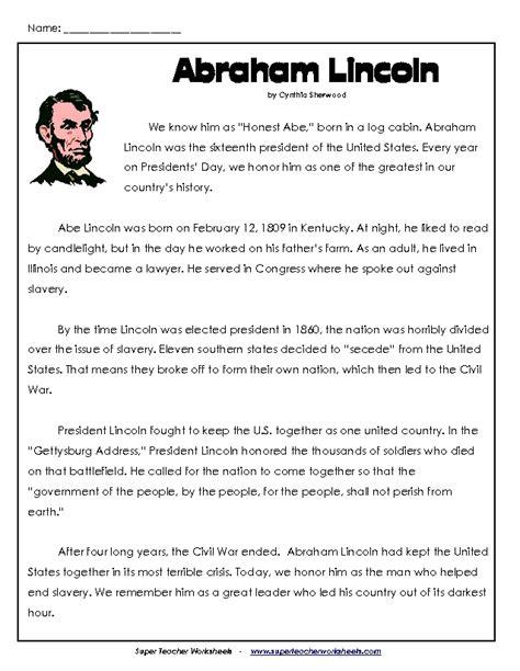 Abraham Lincoln Comprehension Worksheet by Abrahom Lincoln Printables Abraham Lincoln For