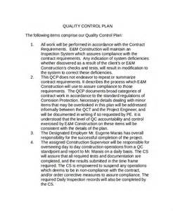 quality control plan template 7 7 quality assurance plan