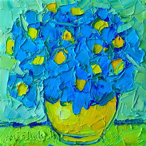 Acrylic Square Vase Abstract Blue Poppies In Yellow Vase Original Palette