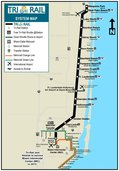 official map tri rail commuter rail southern