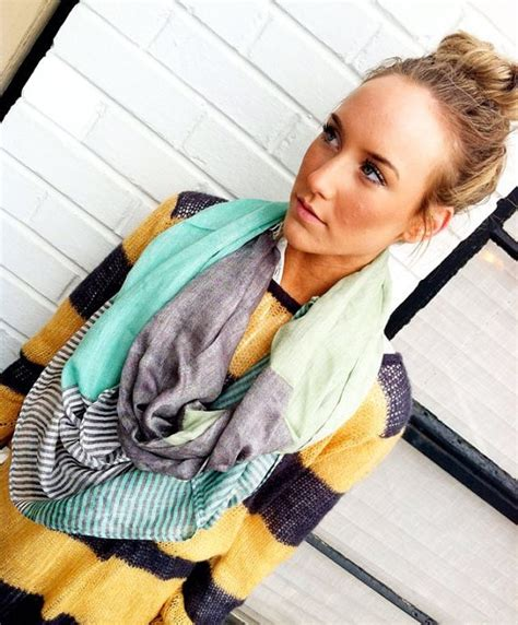 Loe Top Pashmina Yellow mint pashmina infinity scarf colorblock loop fashion