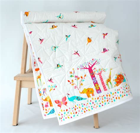 Baby Quilt Blankets by Origami Cranes And Animals Modern Baby Quilt Baby Blanket