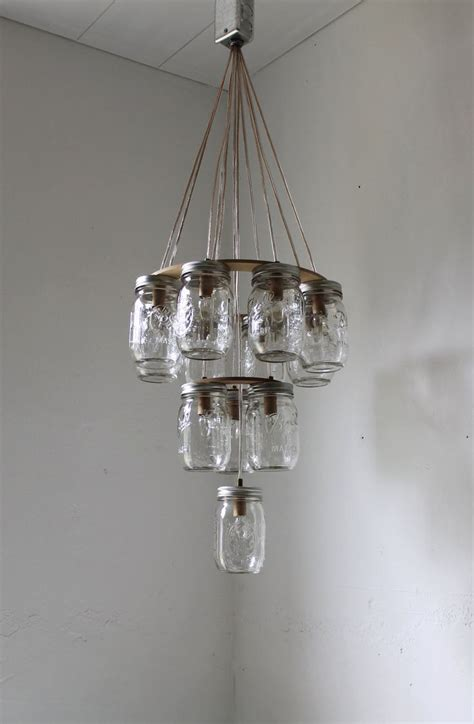 Jar Chandelier 3 Tier Jar Chandelier Jar Lighting Wedding Cake Handcrafted