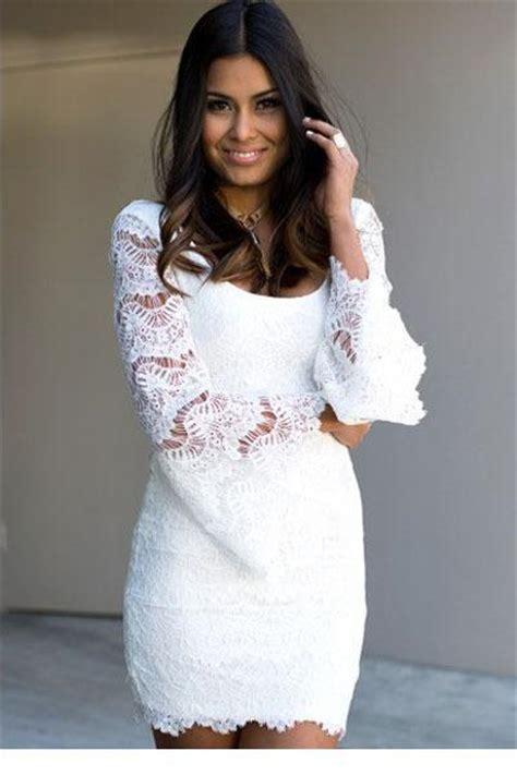 Pakaian Wanita Reinna Dress baru 2015 wanita pakaian gaun kasual glamor bell lengan renda putih mini dress lc21874
