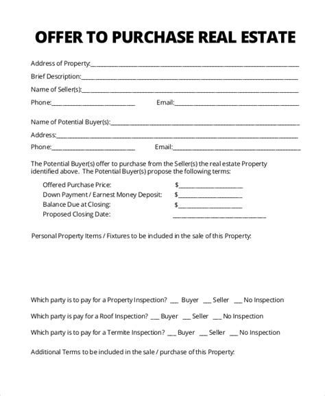 Sle Real Estate Form 16 Free Documents In Pdf Offer Contract Template