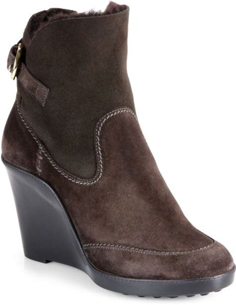 ferragamo reno suede shearlinglined wedge ankle boots in