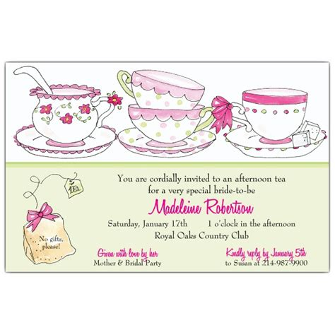 Bridal Shower Timing by Time For Tea Bridal Shower Invitations Paperstyle
