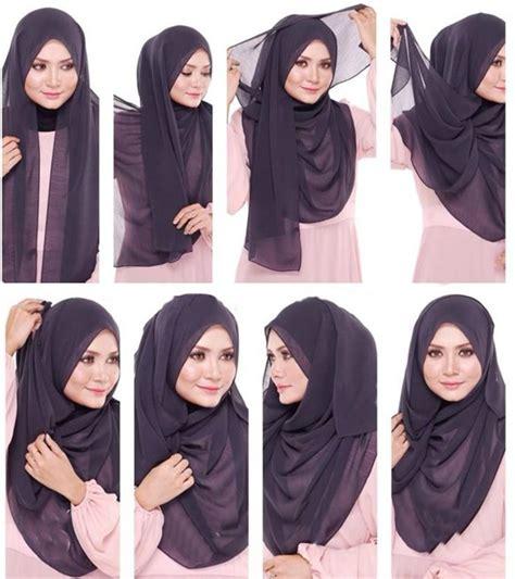 tutorial hijab segitiga casual طريقة لف الخمار بالصور