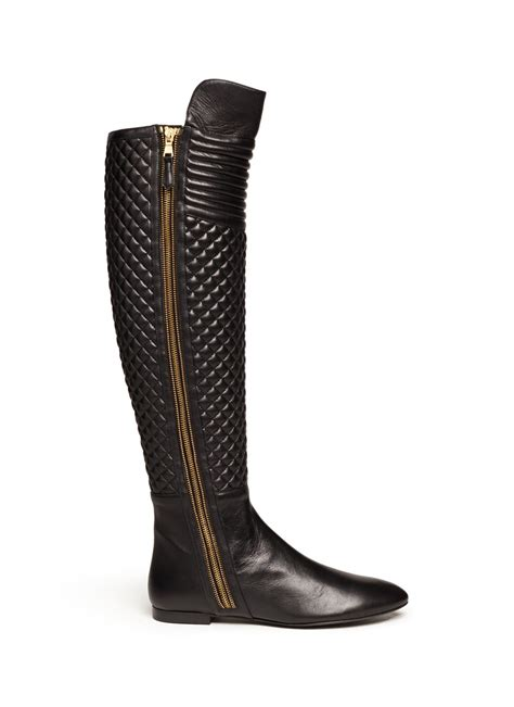 Black Quilted Boots brian atwood quilted leather boots in black lyst