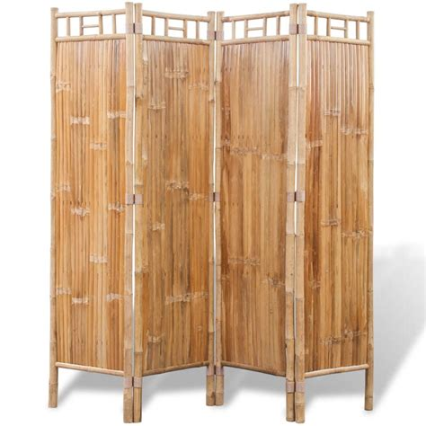vidaxl co uk 4 panel bamboo room divider