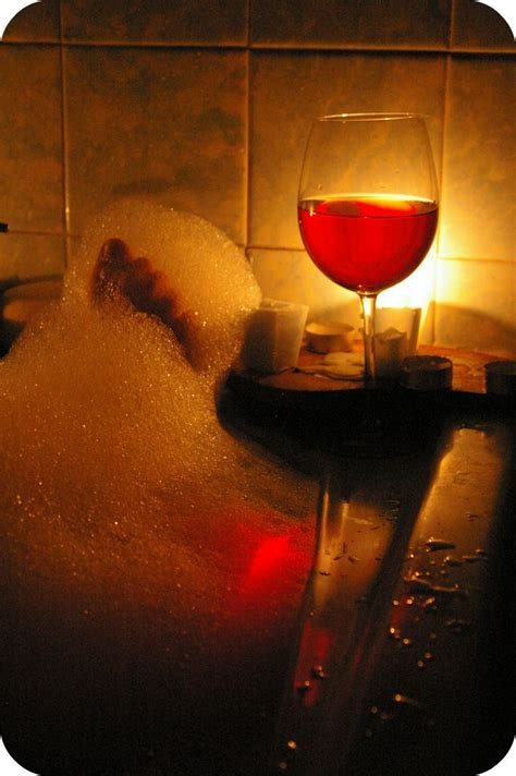 bathtub wine take a bubble bath light a candle have a glass of wine