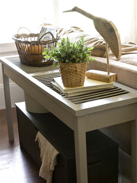 Diy Sofa Table Ideas by Diy Shutter Console Table Refurbished Ideas