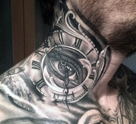 neck tattoo designs men 15 dazzling clock neck tattoos