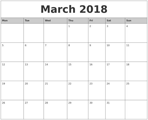 printable monthly calendar starting monday march 2018 monthly calendar printable