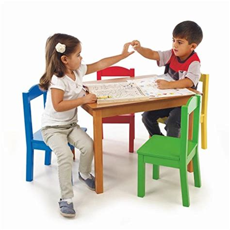 kidkraft table with primary benches tot tutors kids table and 4 chair set primary wood new ebay
