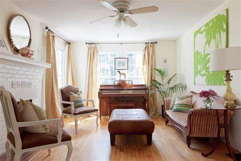 colored walls neutral curtains piano in front of