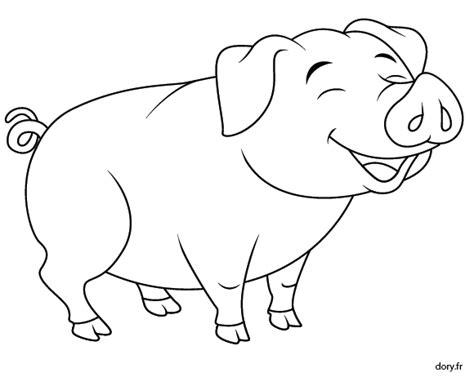 Coloriage Un Cochon Souriant Dory Fr Coloriages