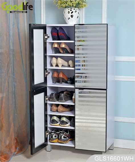 Large Shoe Storage Cabinet 4 Doors Wooden Shoe Cabinet With Glass Mirror For Large Quantity Shoes Storage