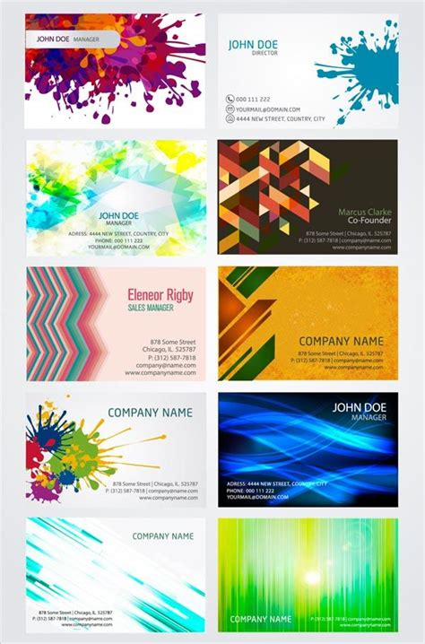 business card templates designs artistic business card design templates vector illustrator