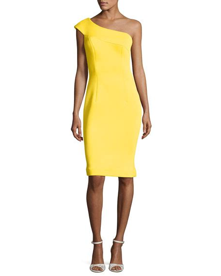 Dress Yellow Scuba jovani one shoulder scuba cocktail dress yellow neiman