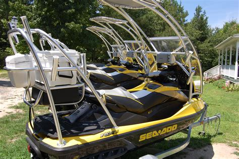 party boat fishing rigs custom jetski outfitted for fishing boat life