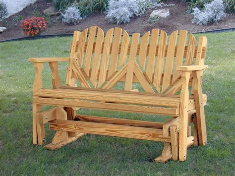 Amish Outdoor Pine Wood Heart Porch Glider Bench Made In Outdoor Pine Furniture