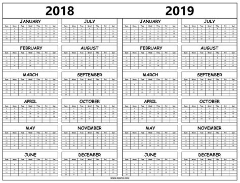 2018 2019 Yearly Calendar Template Printable Monthly Calendar Templates 2018 2019 Calendar Template