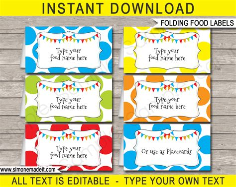 Food Name Tags Template Free