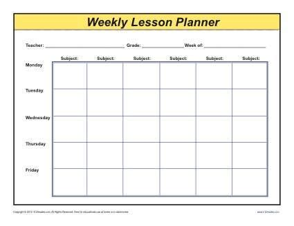 subject planner printable free weekly detailed multi class lesson plan template