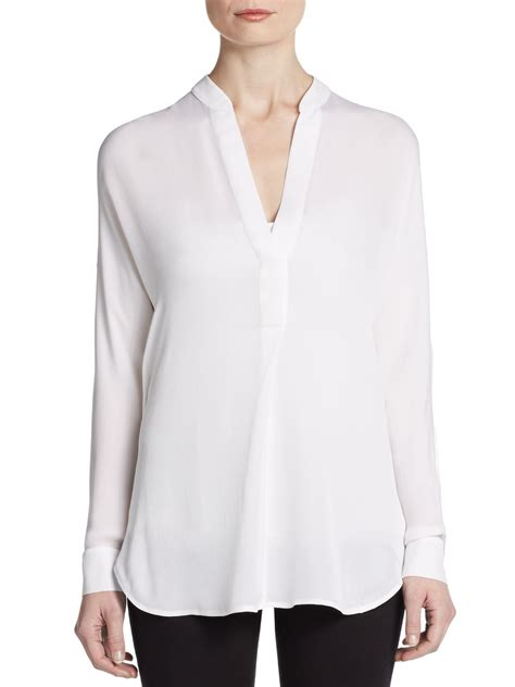 Sleeves Blouse White vince silk sleeve blouse in white lyst