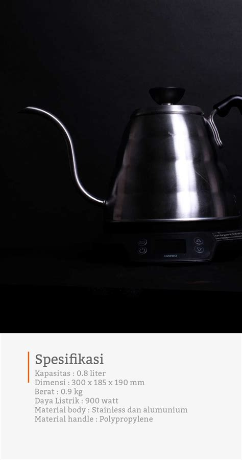 teko listrik dengan pengatur suhu dari hario buono cikopi