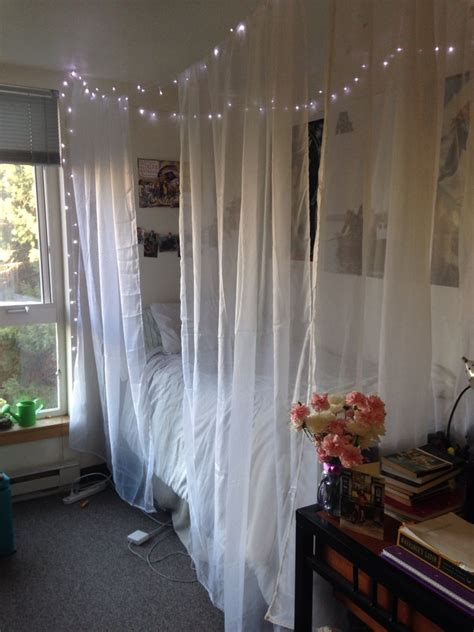 diy bedroom canopy diy dorm room canopy bed 4 sheer curtains 3 command