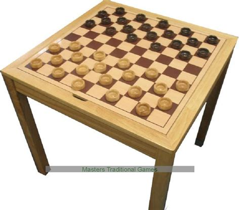 Checkers Table by Large Square Chess And Draughts Checkers Table With Pieces