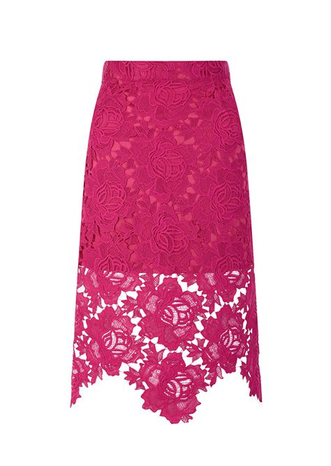 house of pink lace pencil skirt in pink lyst