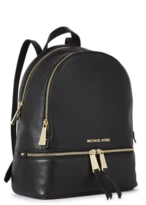 small black michael kors rhea small black leather backpack in black lyst