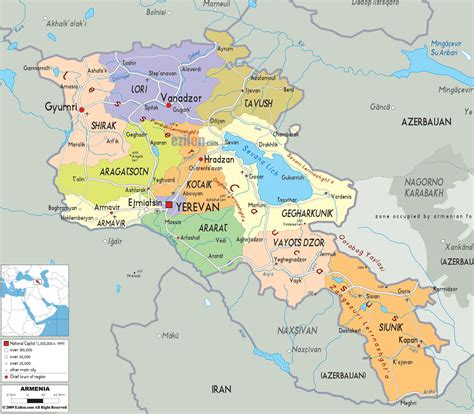 map of armenia political map of armenia ezilon maps
