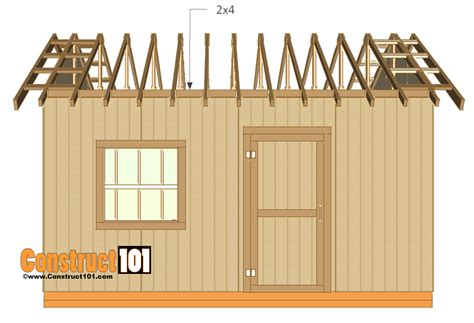 12x16 Gable Shed Plans by 12x16 Shed Plans Gable Design Construct101