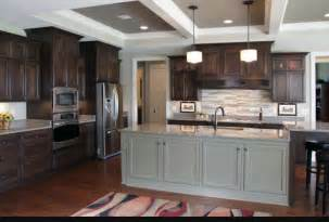 Black Brown Kitchen Cabinets by Brown Kitchen Cabinets Grey Island Contrast