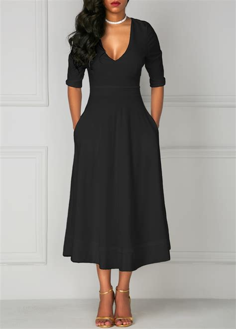 design lab black dress pocket design black v neck half sleeve dress rosewe com