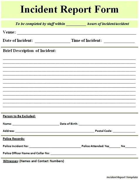 doc 585650 incident report word template incident template incident report form template doc