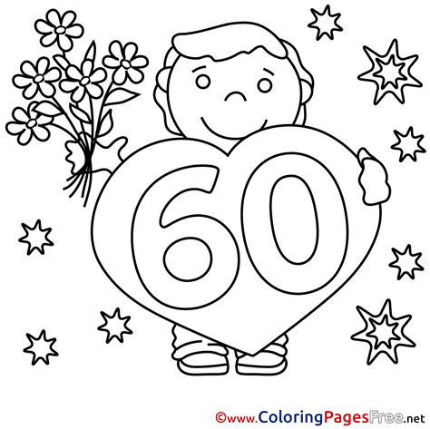 60 Coloring Page by 60 Years Bouquet Children Happy Birthday Colouring Page