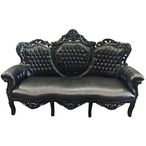 canape simili cuir noir canap 233 baroque tissu simili cuir noir et bois laqu 233 noir