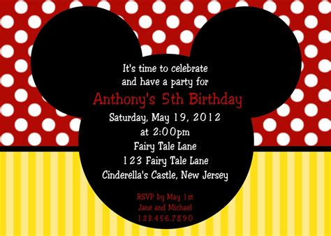 mickey mouse birthday invitation card template birthday invitation mickey mouse birthday invitations