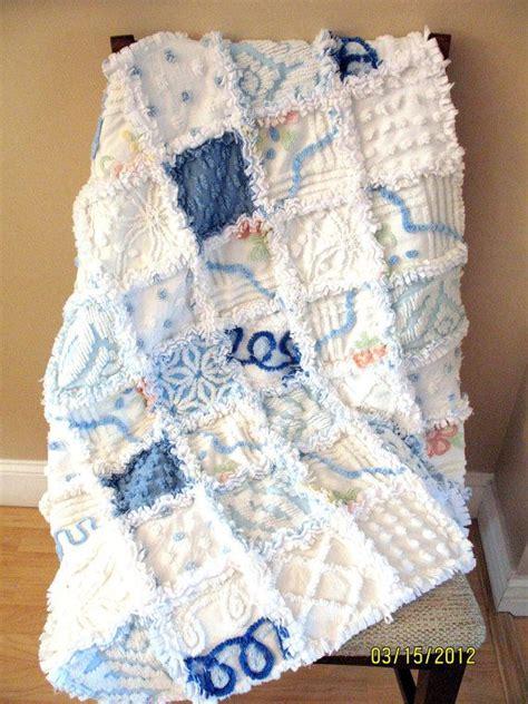 plush lush white and blue vintage chenille baby boy rag